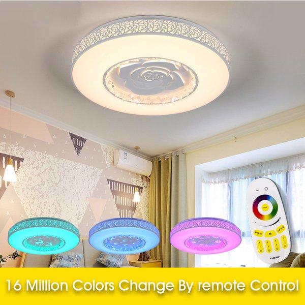 Modern LED tavan Işıkları RGB Dim 36 W Uzaktan kumanda ışık renkleri ve parlaklık fuaye yatak odası Akıllı tavan lambası