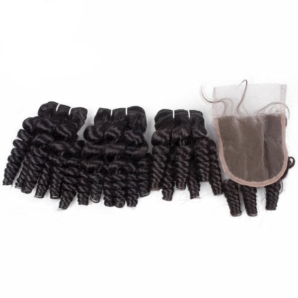 Brazilian Funmi Hair Curly Weave 3 Bundles with Lace Closure Spiral Curl Hair Bundles with 4x4 Closure 100% Human Hair Extensions