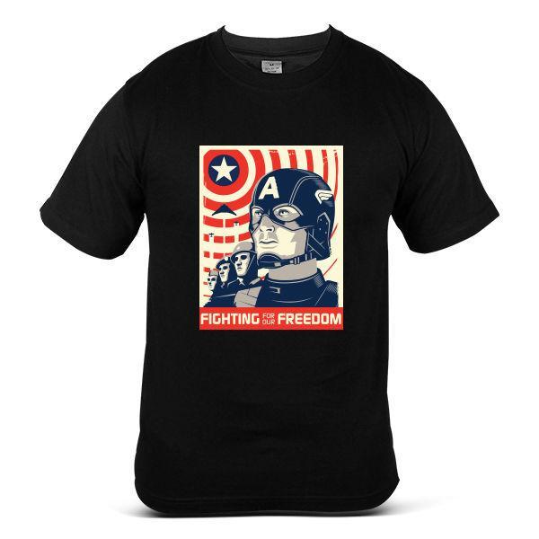 055-BK Captain America The Avengers Fighting For Freedom Black Mens T-Shirt