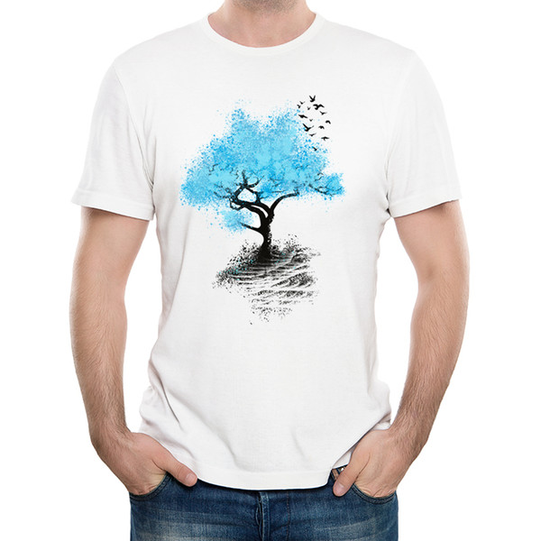 2018 Fashion Creative Tree Of Life Design T-shirt Birds Leaving Home T Shirt High Quality Hipster Male Short Sleeve Tee Tops