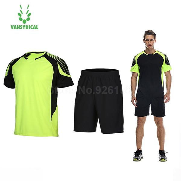 Vansydical Men Soccer Jersey Sports Suits Breathable Running Sets Men Shorts Sportswear Basketball Mens T-Shirt Gym Clothing