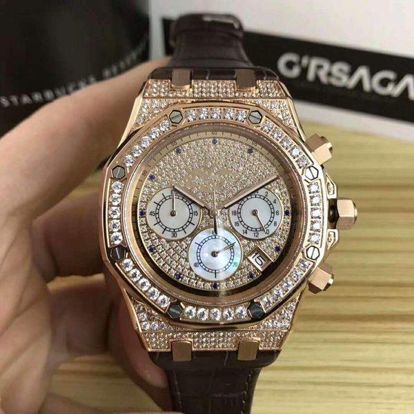 2019 Новый спортивный моды часы мужские кварцевые часы кожаный ремешок 42мм Алмазная Мужские часы Спортивные часы Self-ветра часы