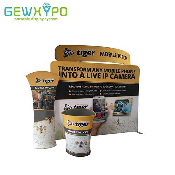 10ft Expo Signs Portable Tension Fabric Straight Advertising Backwall With Triangular Table And Tower,Exhibition Banner Stand