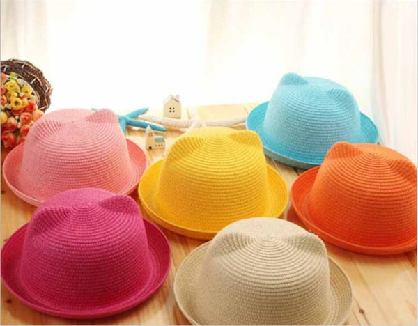 Baby Straw Hat Kids Cat Ear Decoration Lovely Beach Cap Children Girls Boys Solid beach Sun Hat Y242