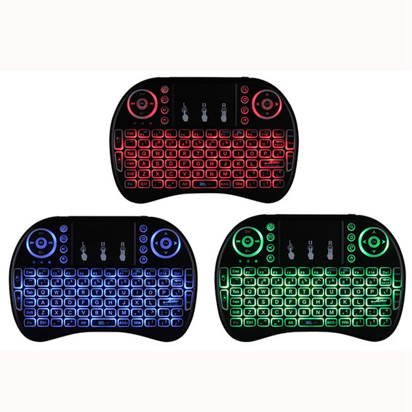 best selling Rii I8 Fly Air Mouse 2.4G Colorful Backlit Backlight Wireless Touchpad Keyboard For PC Pad Android TV Box MXQ PRO X96 Mini