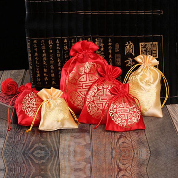 Günstige Chinesische Lucky Woolen Baumwolle Beutel Kleine Kordelzug Schmuck Geschenk-Verpackung Taschen Hochzeit Party Candy Favor Tasche jc-245