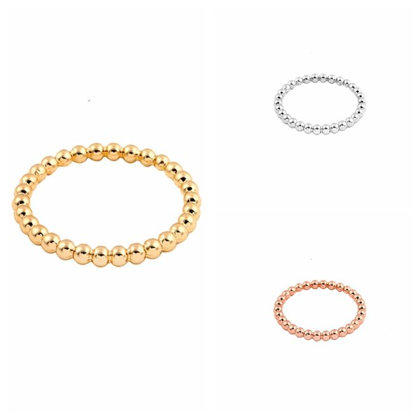 Hfarich New Gold Slim Stacking Beaded Rings for Women Full Bead Wire Rings for Women Dropshipping Wholesale