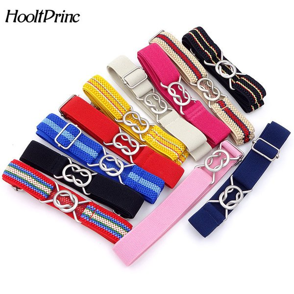 HooltPrinc Free Shipping Candy Color stripe 1 Inch Wide Kids Children Elastic Waist Belt For Boys Girls