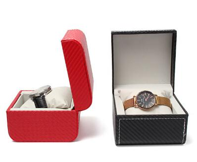 Europe PU Leather Watch Storage Box Fashion Single Grid Watch Display Organizer With Pillow Jewelry Gift Box