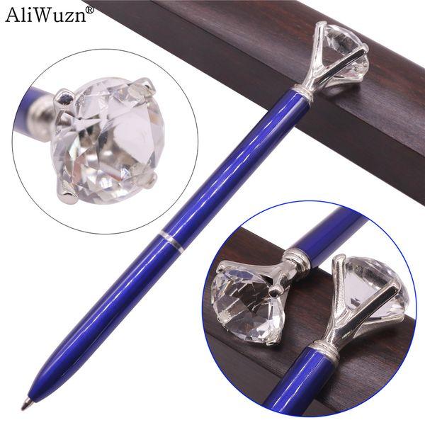 20 Pcs Large Diamond Metal Crystal Pen 0.7mm Blue Writing Pen Student School Gift Ballpoint Like Beauty