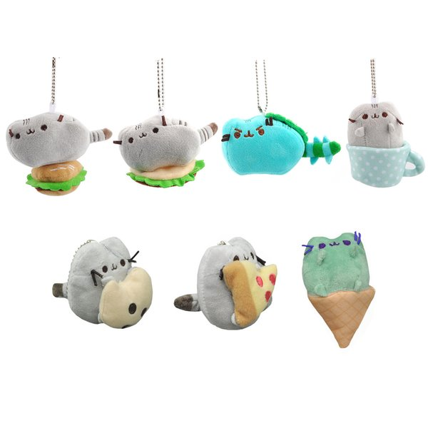 EMS The Cat Cookie Icecream Pizza Hamburger Dinosaur Dino Glass Taco 8CM Plush Doll Stuffed Pendant Best Gift Soft Toy