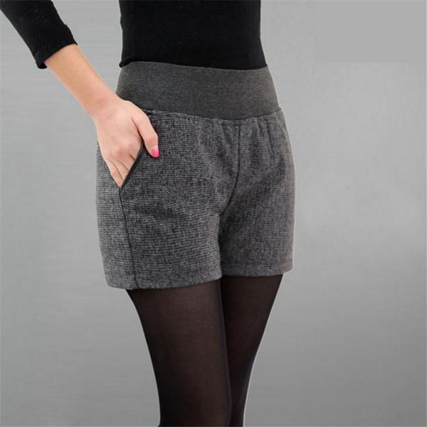 Nuovo Autunno Inverno Abbigliamento donna Slim selvaggia Tasca a contrasto di colore Pantaloncini corti femminili di lana Pantaloni corti di spessore Download D016