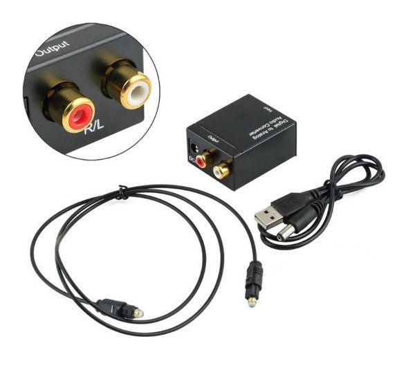 Convertisseur audio numérique vers analogique Convertisseur optique coaxial RCA Toslink vers convertisseur audio analogique Emballage RCA avec câble Fible