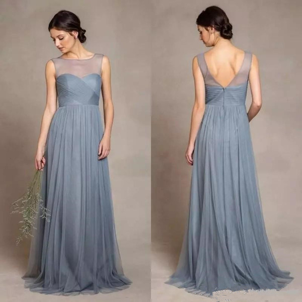 Dusty Grey Tulle Sheer Dama de honor vestidos 2019 Nuevo diseño Custom estilo simple Pleats A-Line sin respaldo de Tulle Wedding Party vestidos largos B05