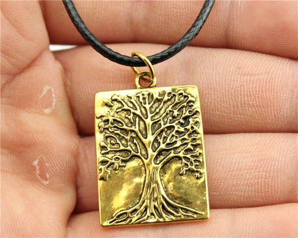 WYSIWYG 5 Pieces Leather Chain Necklaces Pendants Choker Collar Pendant Necklace Women Tree 32x22mm N6-D10129