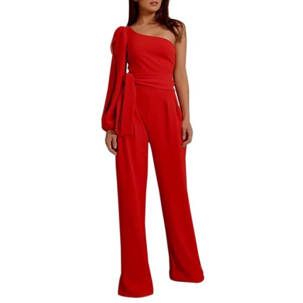 New Fashion Women's Jumpsuit Solid Sexy Belt One-shoulder Sleeves Bandage Nice Elegant Long Jumpsuit