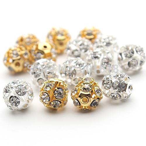 30 adet / grup 6mm / 8mm / 10mm Altın / Gümüş Yuvarlak Açacağı Disko Topu Boncuk Ren taş Kristal Spacer Boncuk DIY Takı için