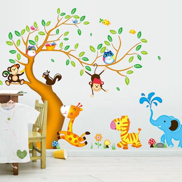 Macaco Coruja Animais Árvore Dos Desenhos Animados adesivos de Parede de Vinil para quartos de crianças Home decor DIY Criança Papel De Parede Art Decalques Decoração Casa