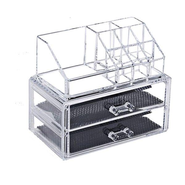 Acrylic transparent 2 Drawers makeup organizer lipstick rack Make Up brush tools holder jewelry storage box nail polish rack