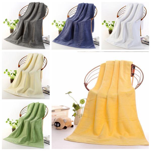 Asciugamani da bagno in cotone Luxury Addensare Asciugamano da viaggio Morbido Asciugamani da viaggio Hotel SPA Doccia Asciugamano 70 * 140 cm Home Hotel Forniture 6 Colori YFA362