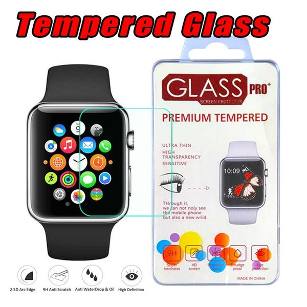 For Apple Watch iwatch 38mm 42mm Series1 2 3 4 2.5D 9H Tempered Glass Flim Screen Protector LCD With Retal package 40mm 44mm