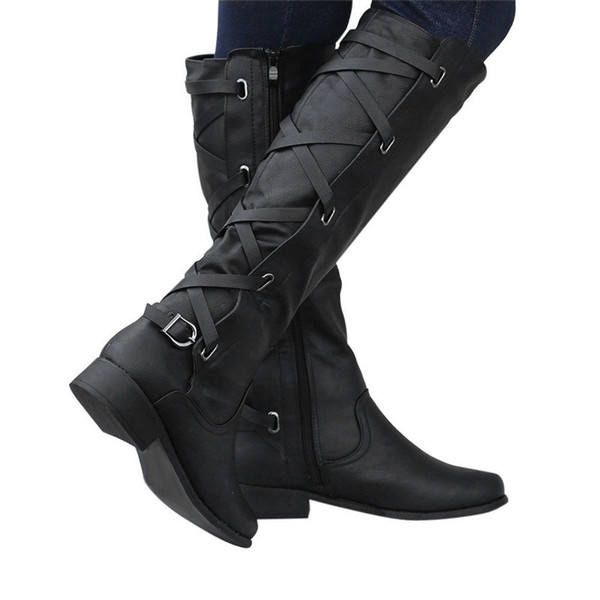 woman Ladies Buckle Roman Riding Knee High Cowboy winter boots women Martin Long Boots botas