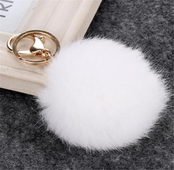 Güzel 8 CM Hakiki Deri Tavşan kürk topu peluş anahtarlık araba anahtarlık Çanta Kolye araba için anahtarlık