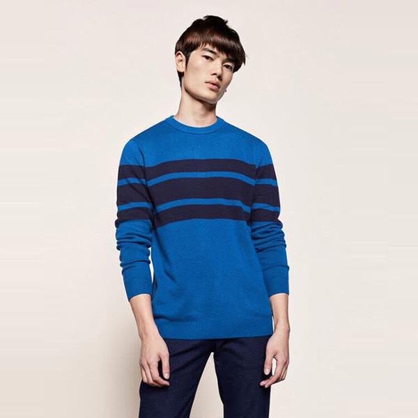 Casual maglione lavorato a maglia o-collo di alta moda per uomo a righe sottile maglione di lana maglione cappotto di stile coreano inverno