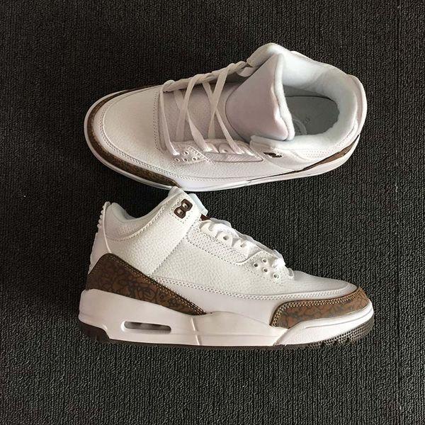 2018 Summer lineup 3 Mocha White/Chrome-Dark Mocha men basketball shoes sneakers Cheap versions mens designer shoes 136064-122 with box