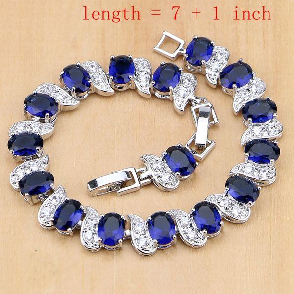 Conjuntos de joyería barata Zircon azul cristalina blanca de 925 sistemas de plata de joyería de plata esterlina para Bridal anillos abiertos / pendientes / colgantes / / pulsera del collar