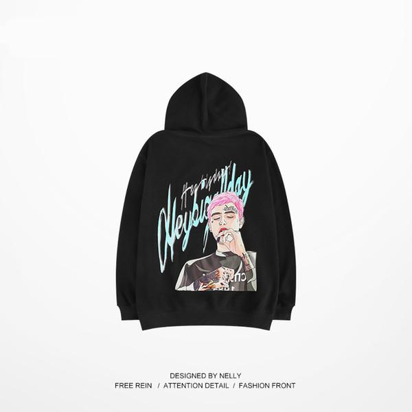 2018 New Purple Tide Brand Hooded Male Hip Hop Tide Brand Autumn Oversize Mens Hoodies Casual Streetwear Hoodie Sweatshirt Men