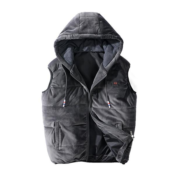 Erkek Kadife Yelek Ceket Kolsuz Kapşonlu Yelek Kış Pamuk Rahat Palto Erkek Polar Yelek Artı Boyutu 5XL 6XL 7XL 8XL