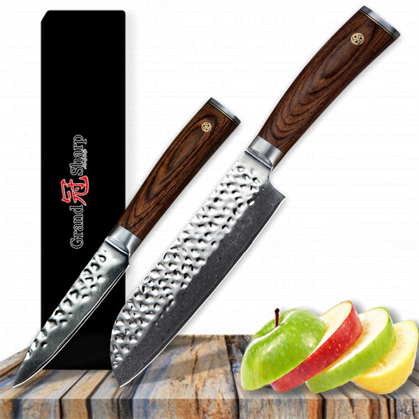 GRANDSHARP Kitchen Knife Set Santoku Paring Knife Set Vg10 Japanese  Damascus Kitchen Knives 67 Layers Japanese Damascus Steel Sharpest Kitchen  Knives ...