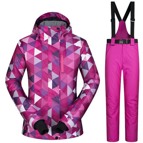 Toptan Satış - Kadın Kayak Ceket Ve Pantolon Kış Açık Ceket Snowboard Kayak Ceket Kadınlar Kar Giyim Kayak Suit Windproof Su Geçirmez Nefes