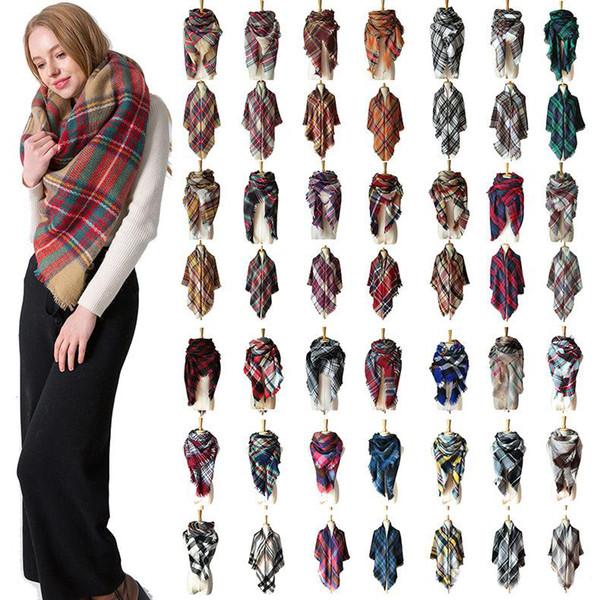 140 * 140cm 38 Farben Tartan Künstliche Wolle Designer Schal Frauen Hijab Tücher Pashmina Kopf Wrap Schal Tischdecke Strandtuch