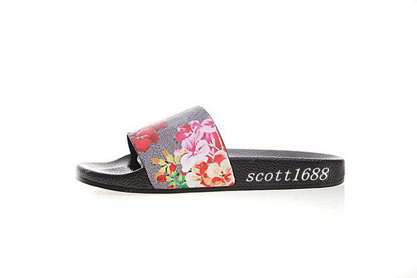 fashion red pink flower blooms slides sandals rubber slippers mens and womens outdoor beach causal flip flops
