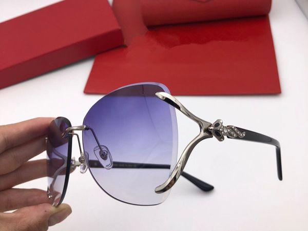New Luxury designer sunglasses 0947 frameless crystal cutting lens fashion Sunglasses summer high-end decorative eyewear top quality