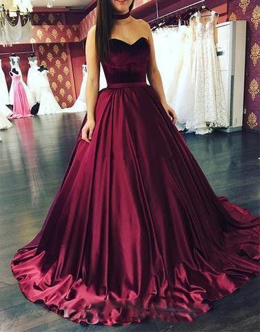 Burgundy Ball Gown Prom Dresses Long 2019 New Sleeveless Sweetheart Top Velvet Formal Evening Gown Party Dresses Satin Skirt Plus Size