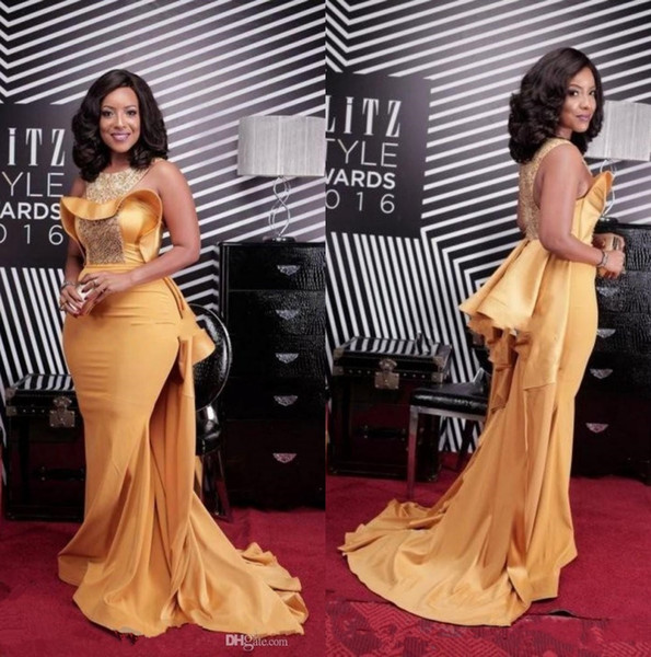 Yellow African Crew Neck Satin Mermaid Long Evening Dresses Beaded Stones Ruffles Sweep Train Formal Party Red Carpet Prom Gowns