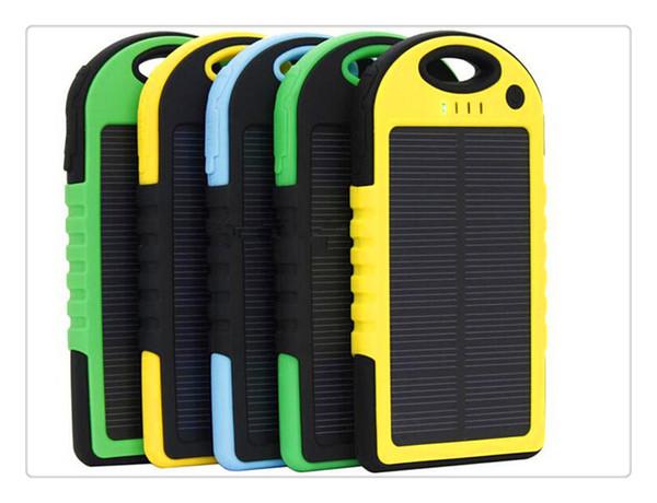 5000mAh Solar power bank waterproof shockproof Dustproof portable Solar powerbank External Battery for Cellphone iPhone 7 7Plus