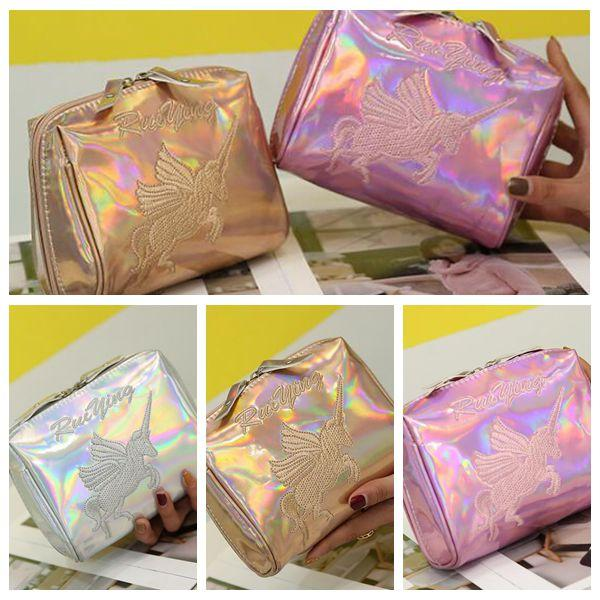 3 Colors New Unicorn Laser Cosmetic Bag Fashion Lady Mini Wash Bags Portable Clutch Travel Storage Bag CCA9374 12pcs
