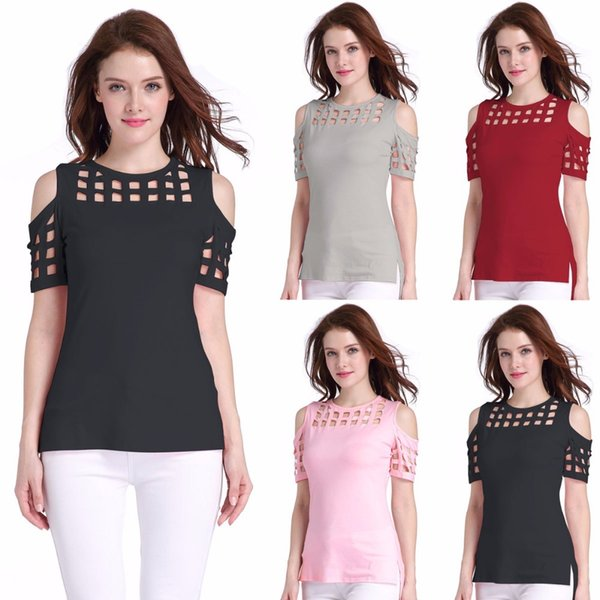 New Spring Summer 2018 Casual Sexy T-shirt Short Sleeve O-neck Hollow Out Shirt Plus Size Women Clothing Off Shoulder Women Tops