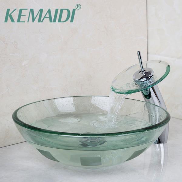 Grosshandel Kemaidi Moderne Waschbecken Toilette Gehartetem Glas Waschbecken Bad Becken Wasserhahn Set Mischer Wasserhahne Tippen Bad Badezimmer