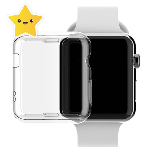 Watch Screen Case PC Abrasion-resistant Anti-scratch Screen Protector Shell for Apple Watch iWatch Series 1 2 3 38 42mm Clear with opp bag