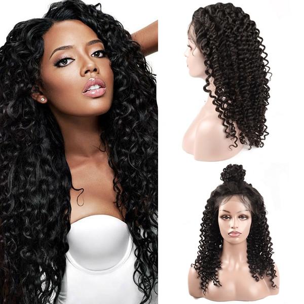 Ucuz 8A Derin Dalga Doğal Görünümlü Saç tam dantel İnsan saç peruk Siyah Kadın Için 10-30 Inç Toptan Fiyat Ücretsiz Kargo