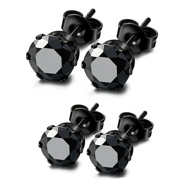 Wholesale Stud Earrings Round Cubic Zircon 316L Stainless Steel Black Ear Studs Men Women Earring 50 Pieces 3mm-8mm ZCST141-Black