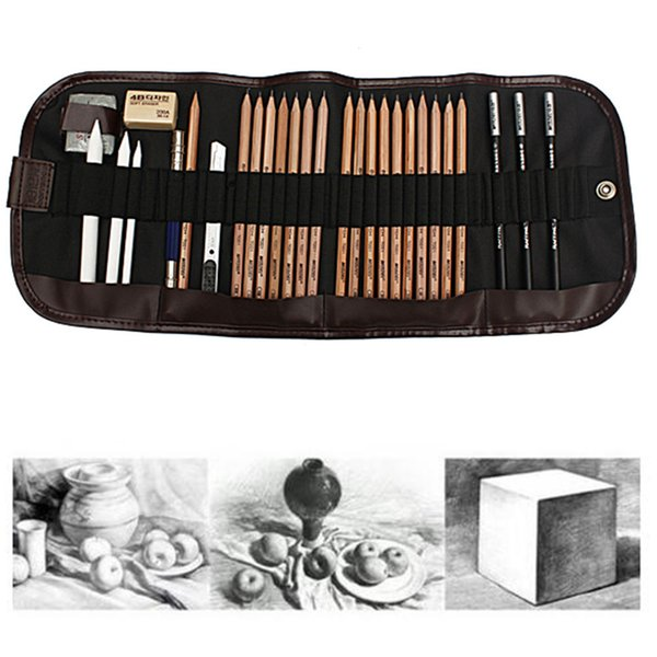 HOT 29pcs/Set Pencil Sketch Drawing Pencil Set Charcoal Eraser Utility Knife Canvas Bag Stationery Gift Office School Supply