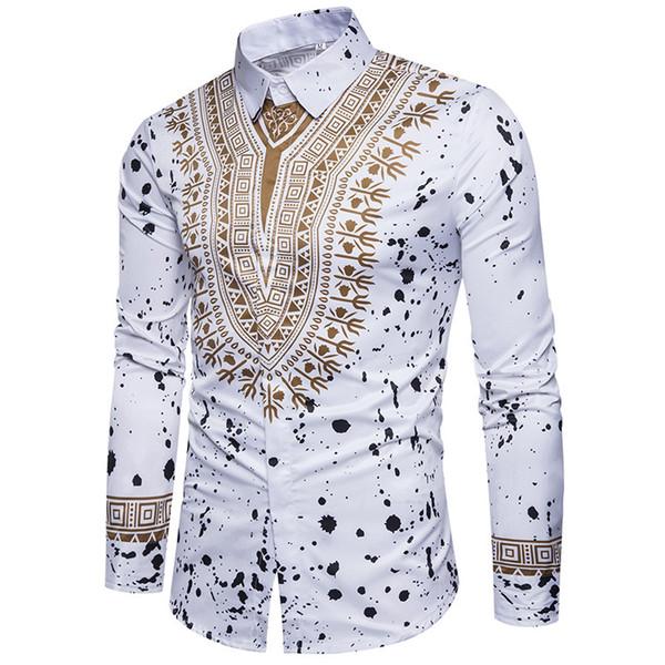 Good quality spring autumn long sleeve casual shirts tops men printed dress shirt slim fit silk shirts M-3XL free shipping