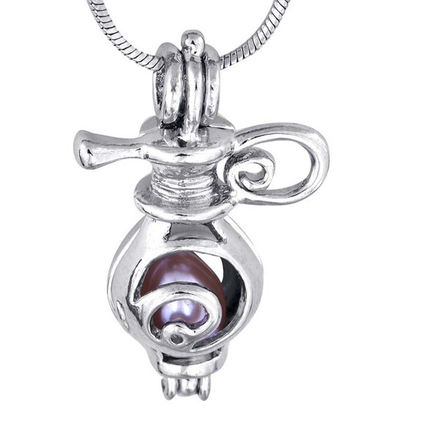 Chime Harmony with fat teapot Shape Pearl Pendant 18kgp Lovely Cute Jewelry Charms fashion style P28