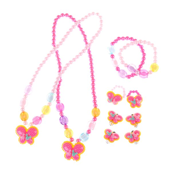 1 Set Candy Beads Resin Plastic Kids Jewelry Set for Children Butterfly Pendants Necklace Bracelet Ring Earrings Baby Jewelry